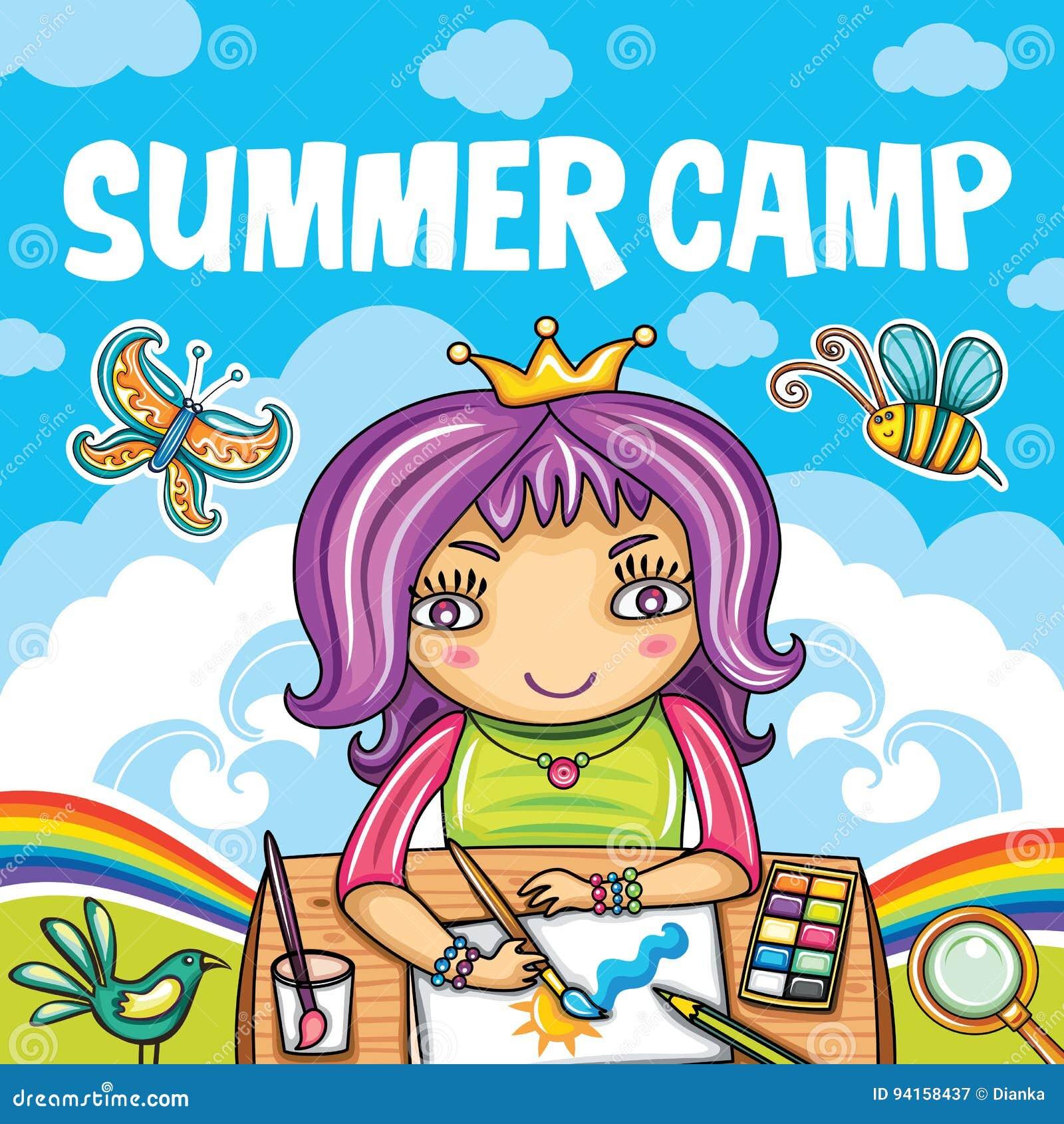 Serie Del Campamento De Verano De Los Niños Ilustración del Vector ...