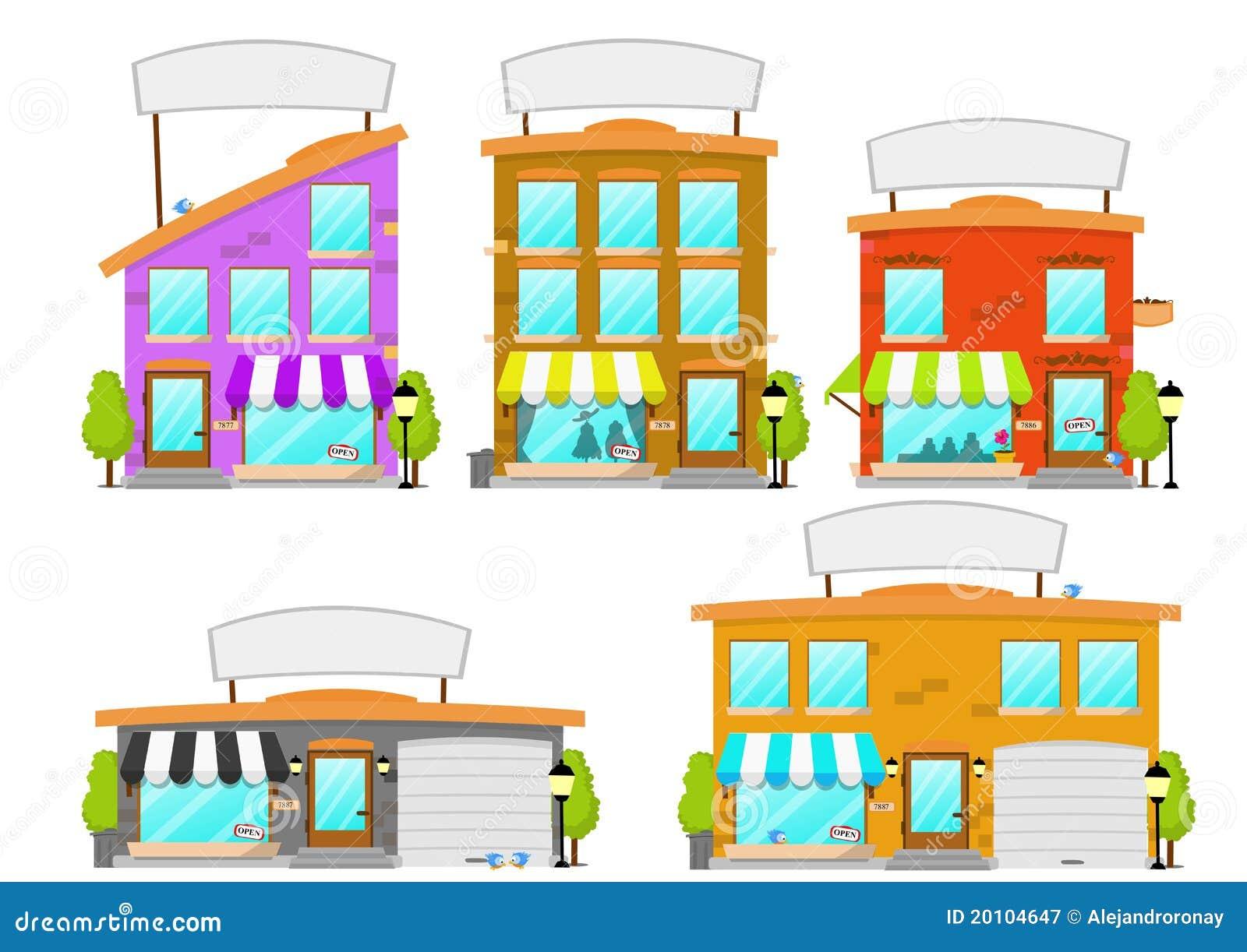 Serie del edificio del boutique de la historieta