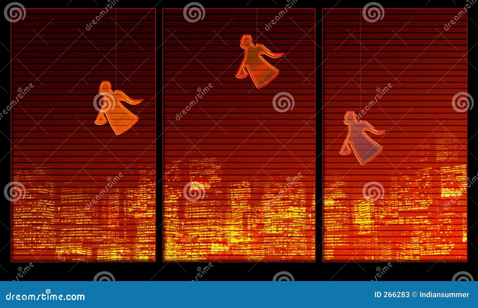 Serie della priorità bassa della finestra. Angeli sulla finestra