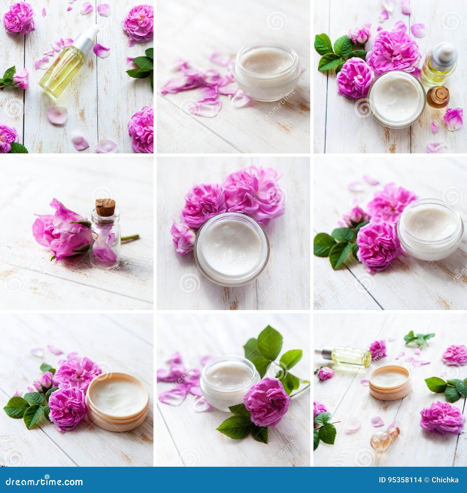 Serie della STAZIONE TERMALE Collage dei prodotti di wellness