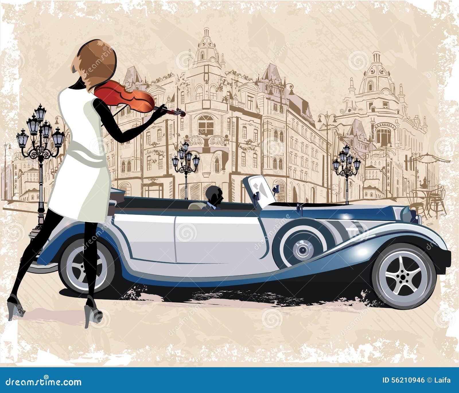Serie di ambiti di provenienza d annata decorati con le retro automobili, i musicisti, le vecchie viste della città ed i caffè de
