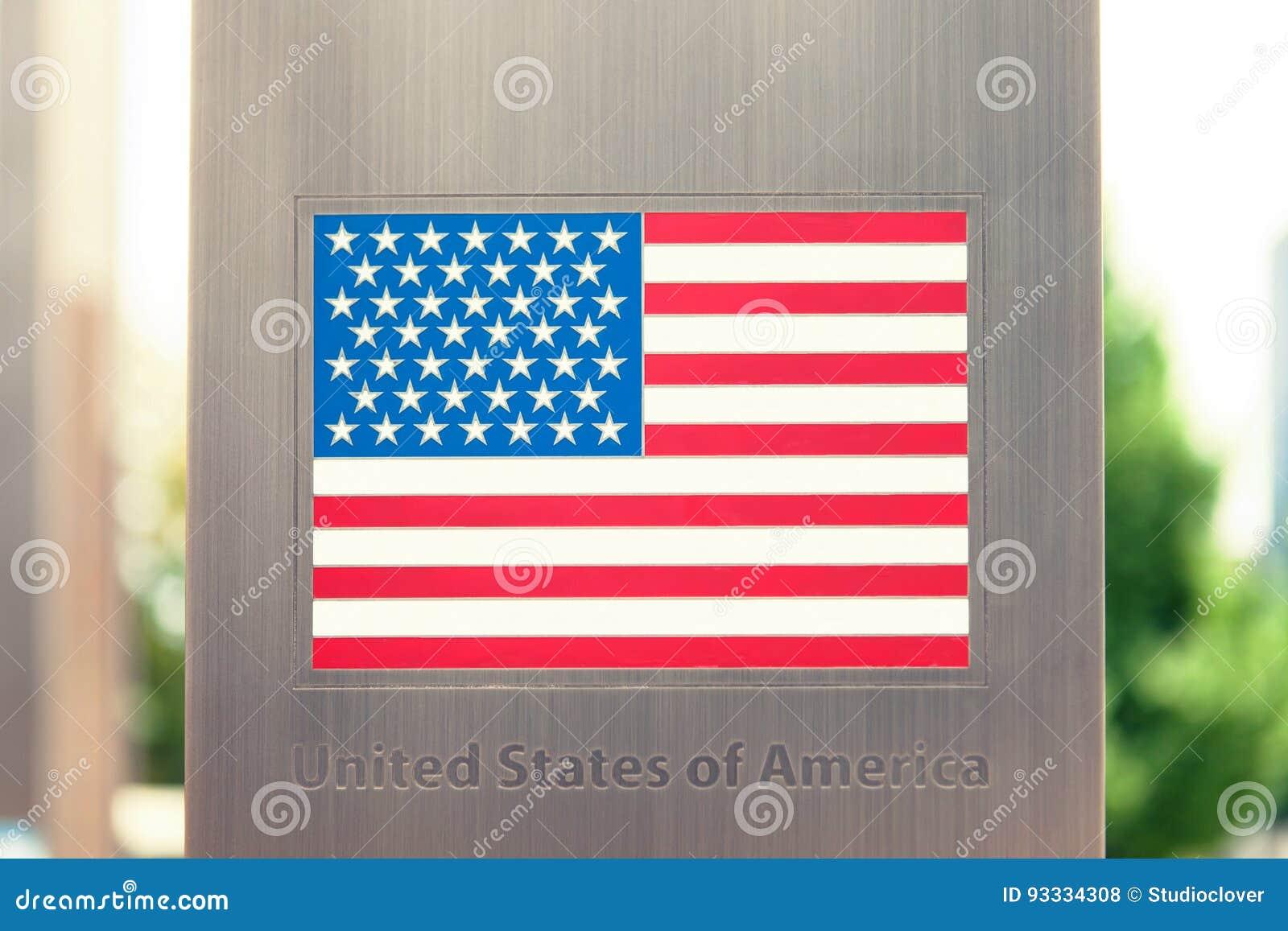 Serie di bandiere nazionali sul palo - Stati Uniti d America Immagine filtrata: effetto d annata elaborato incrocio