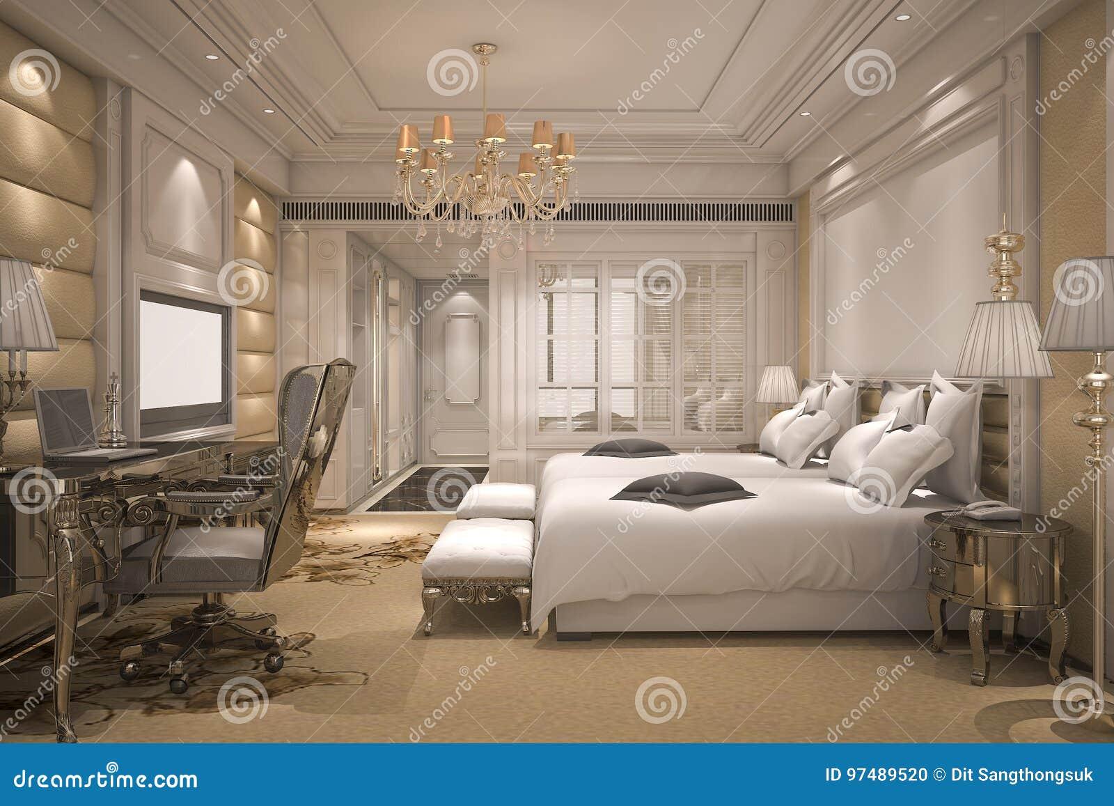 Serie di camera da letto moderna di lusso della rappresentazione 3d in hotel con la decorazione dorata