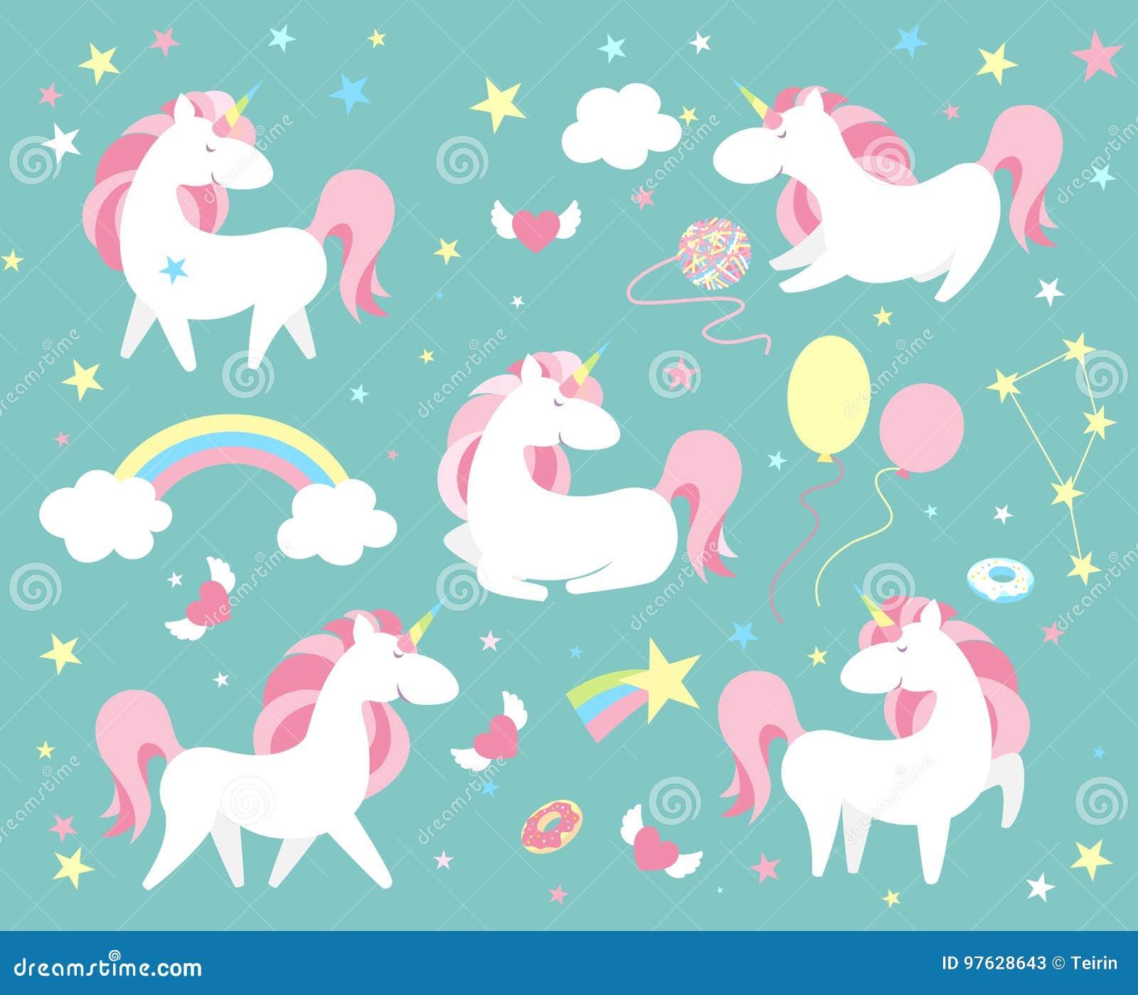 Serie di caratteri dell unicorno Raccolta magica sveglia con l unicorno, l arcobaleno, il cuore, le ali leggiadramente ed il pall