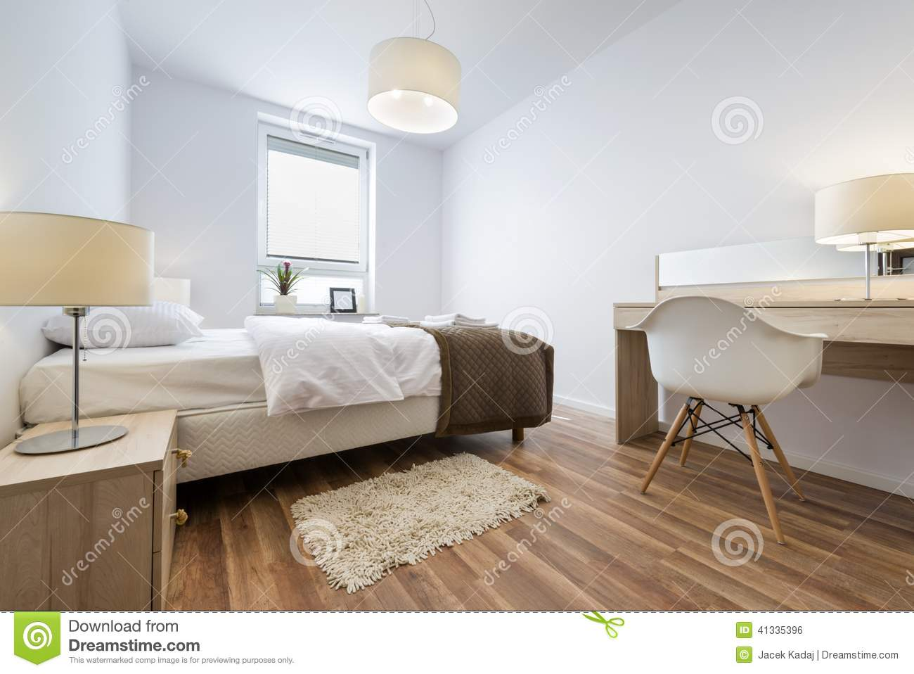Serie Di Interior Design: Camera Da Letto Moderna Fotografia Stock ...