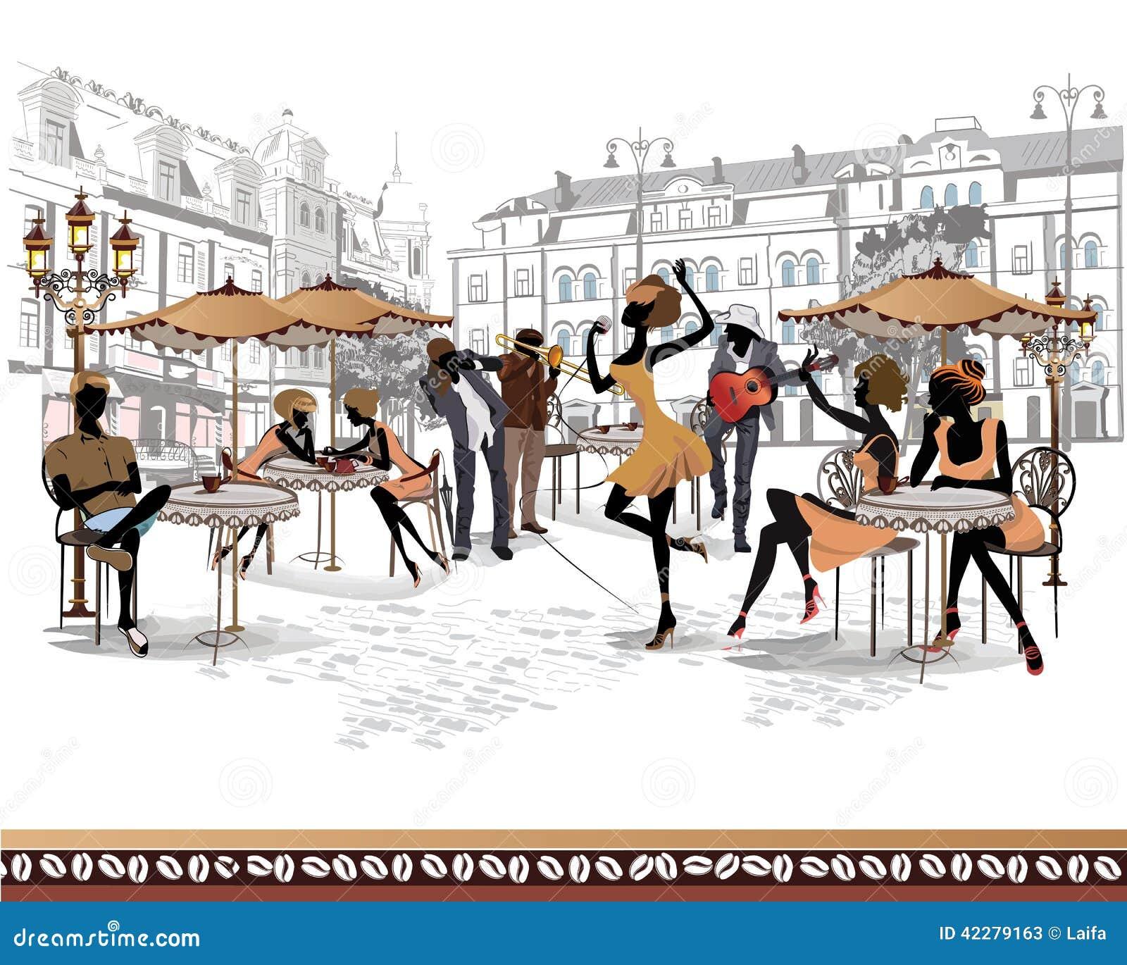 Serie di viste della via nella vecchia città con i musicisti