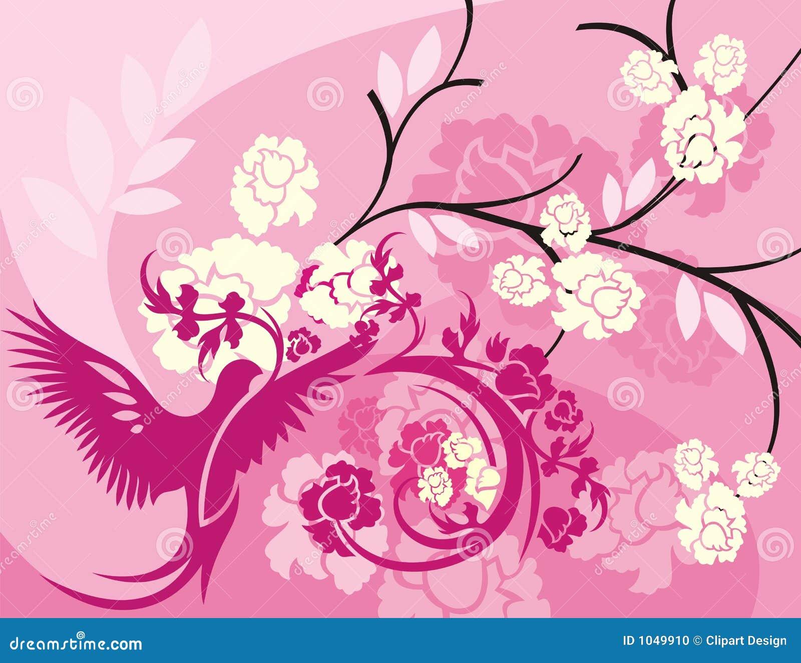 Serie floral del fondo del pájaro