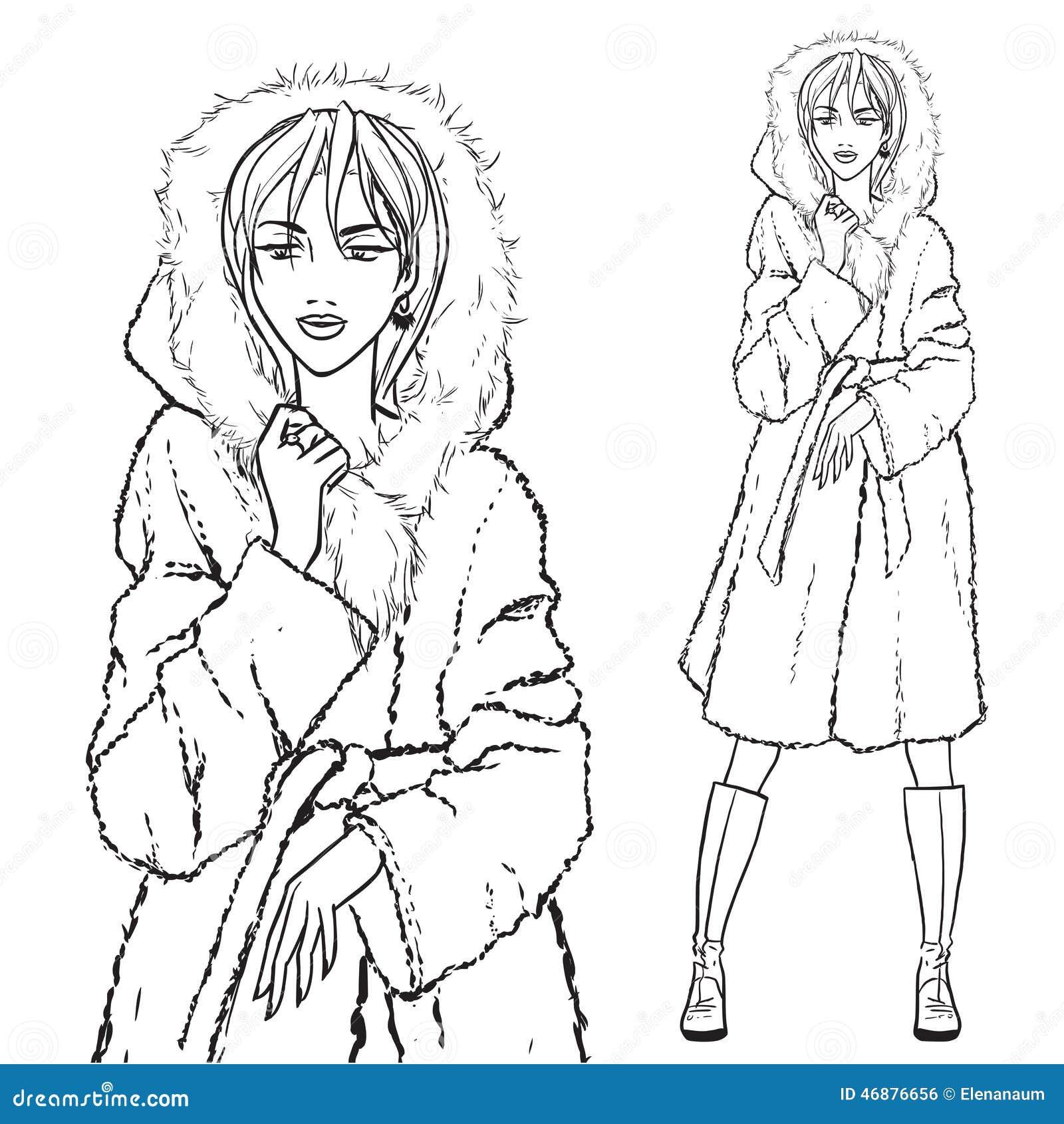 Ilustración Del Vector Serie Mujer De Abrigo Pieles En SWxHWzvXgq