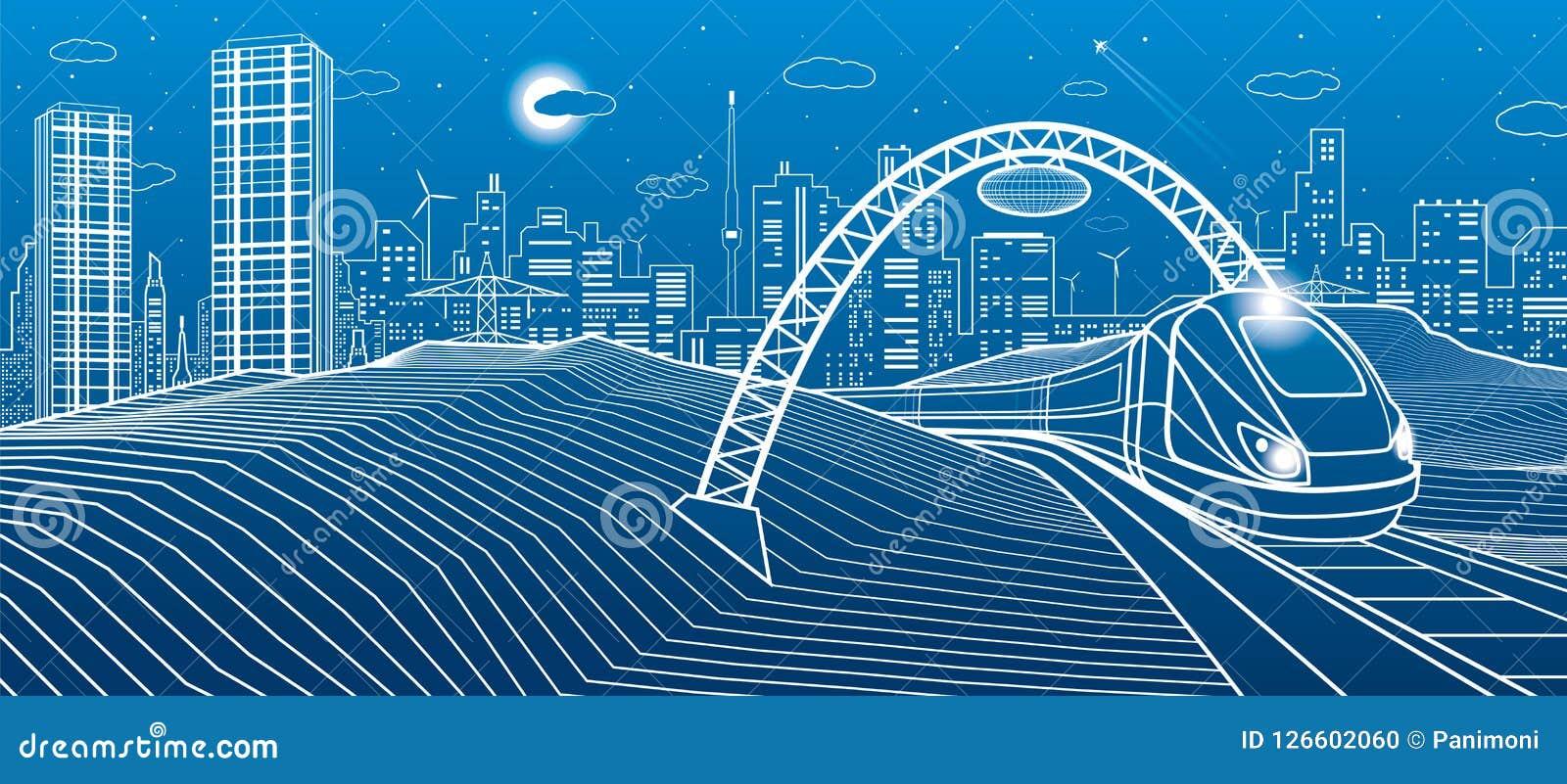 Serie unter der Brücke Moderne Nachtstadt, Neonstadt Infrastrukturillustration, städtische Szene Weiße Linien auf blauem Hintergr