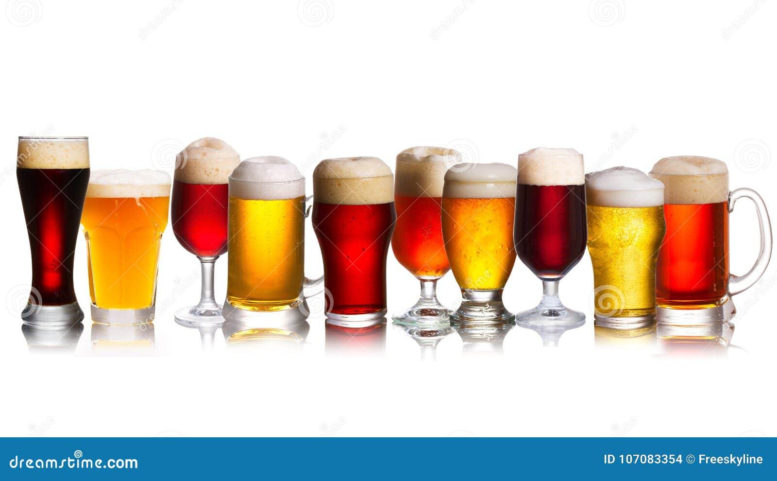 Serie van diverse soorten bieren Selectie van diverse types van bier, aal
