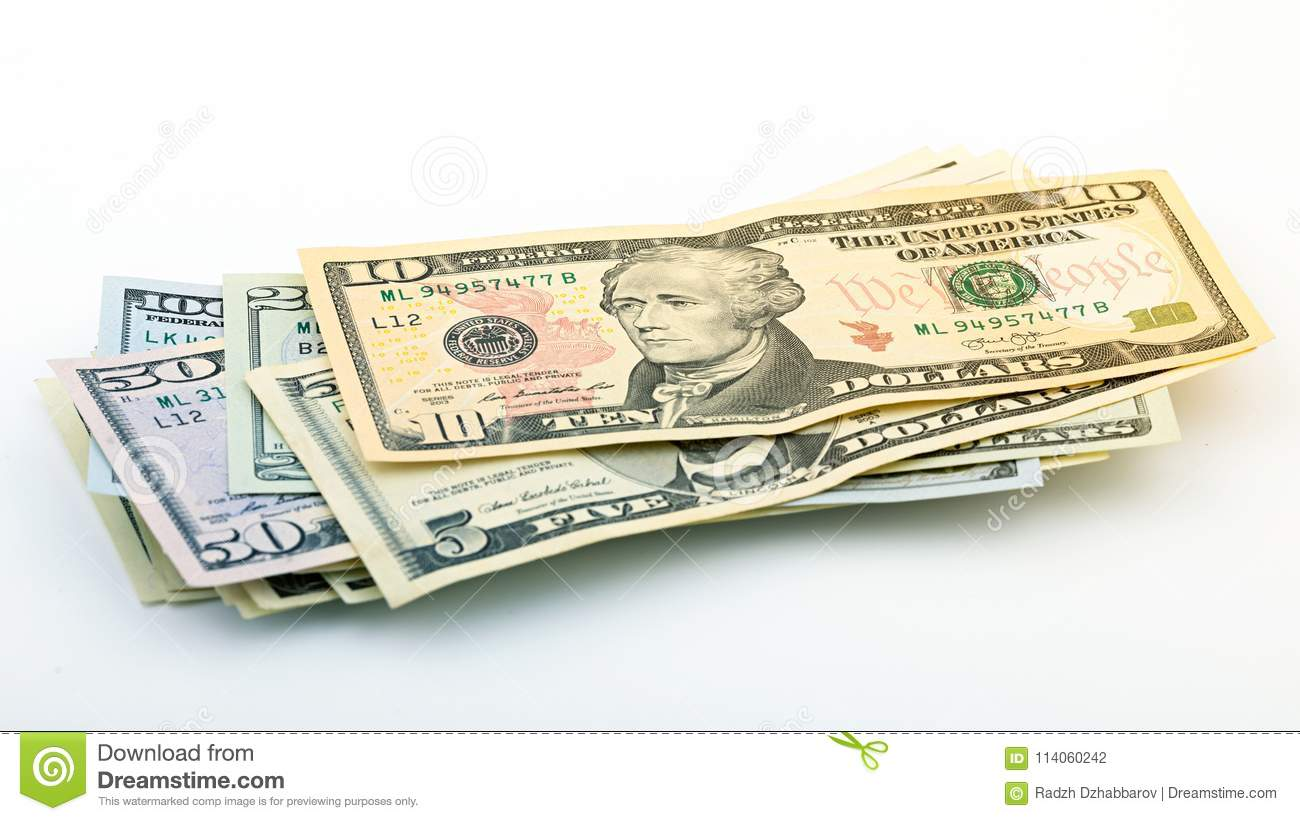 Series American money 5,10, 20, 50, new 100 dollar bill on white background clipping path. Pile US banknote