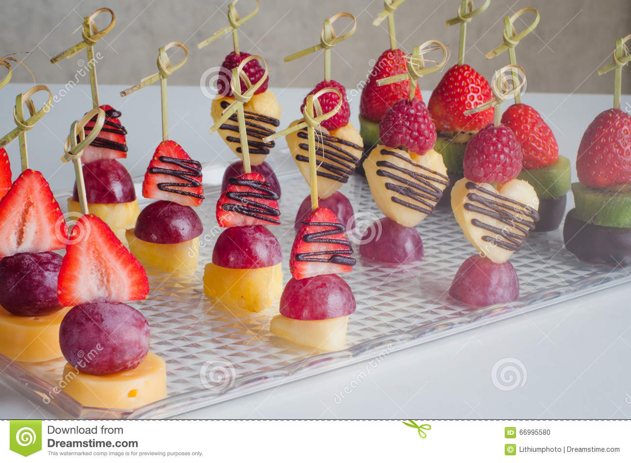 Series of dessert canape from fruits on the table stock for Types of canape bases