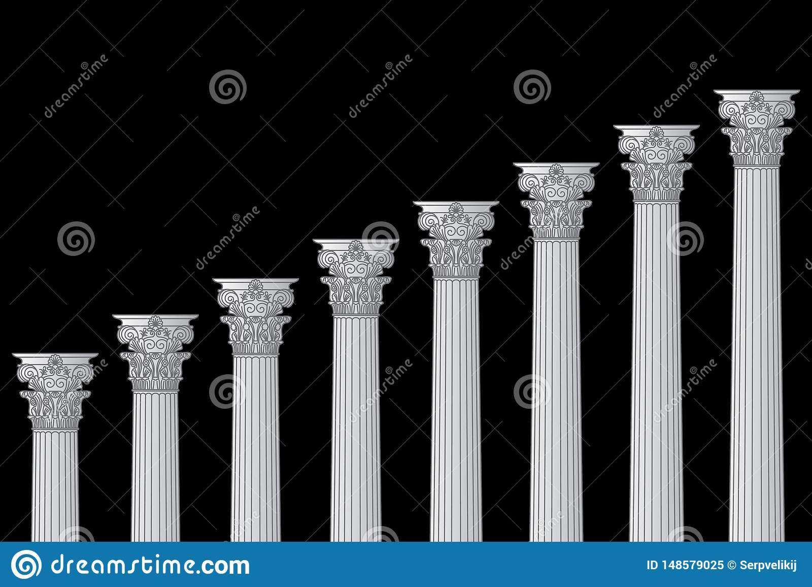 A series of Greek, antique, historic colonnades with Corinthian capitals and space for text on a black background