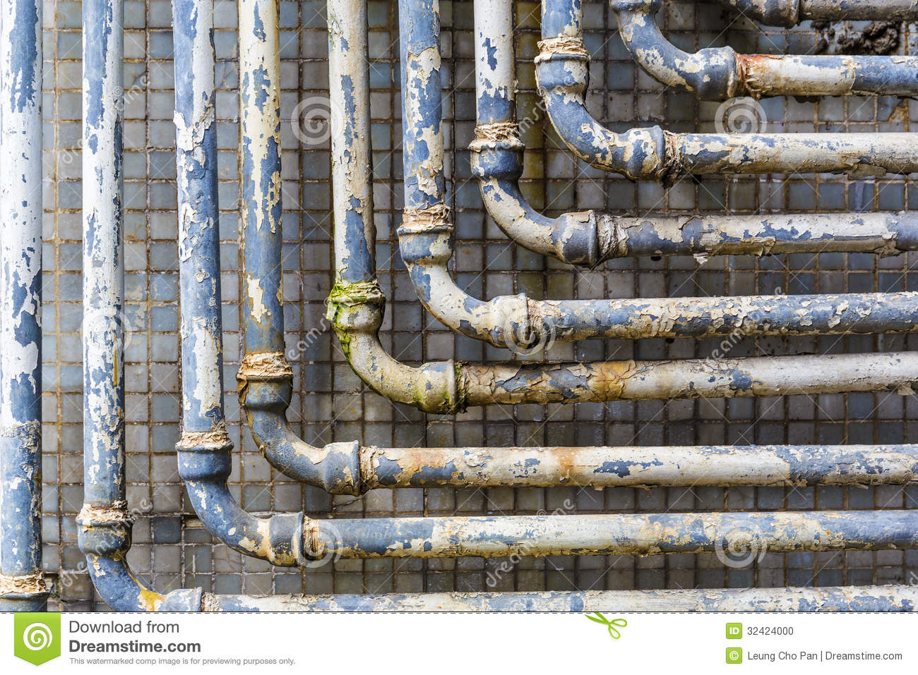Series of parallel old pipes stock photo image 32424000 for What are old plumbing pipes made of