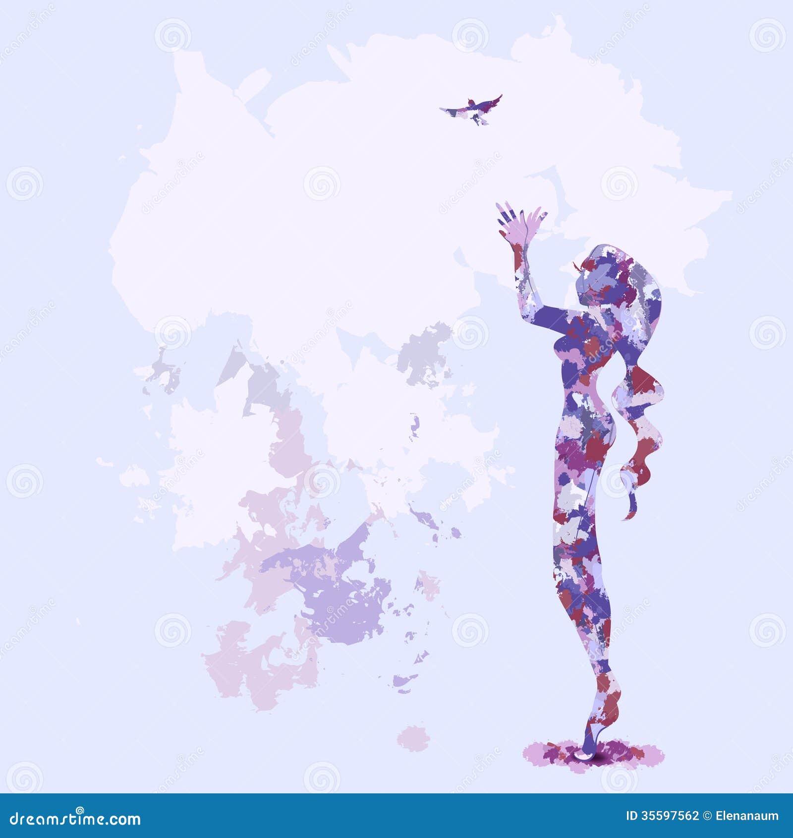 watercolor bird silhouette