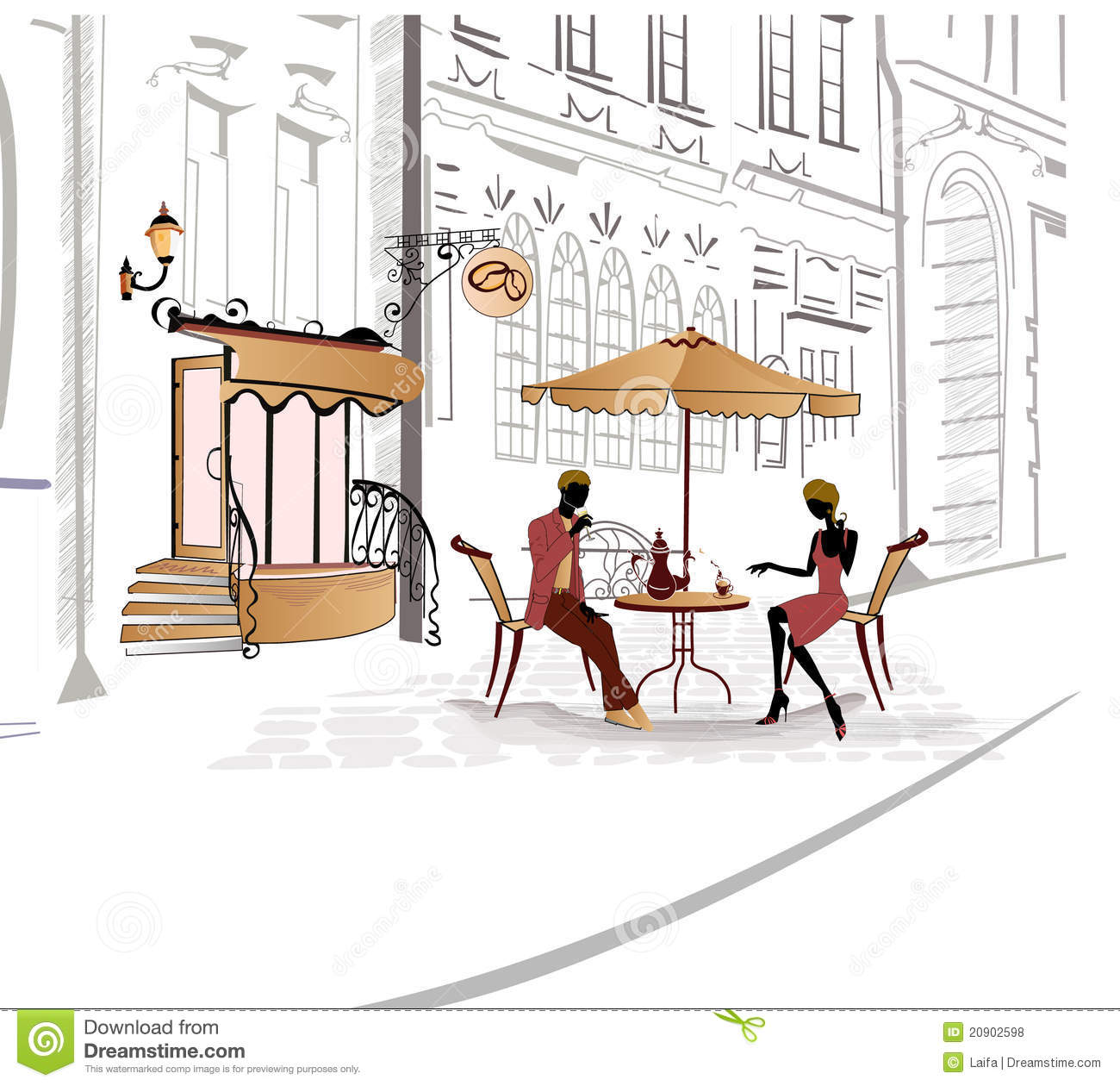 Series of sketches of streets with cafe