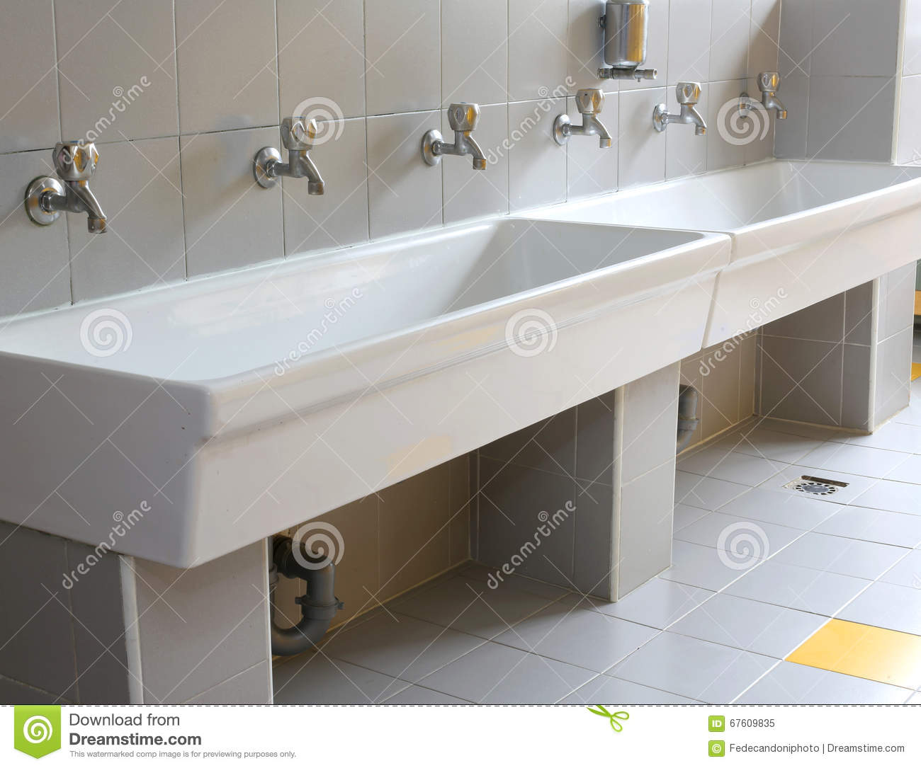 School Bathroom Sinks : Series Of Small Taps In The Bathroom Of Kindergarten Stock Photo ...
