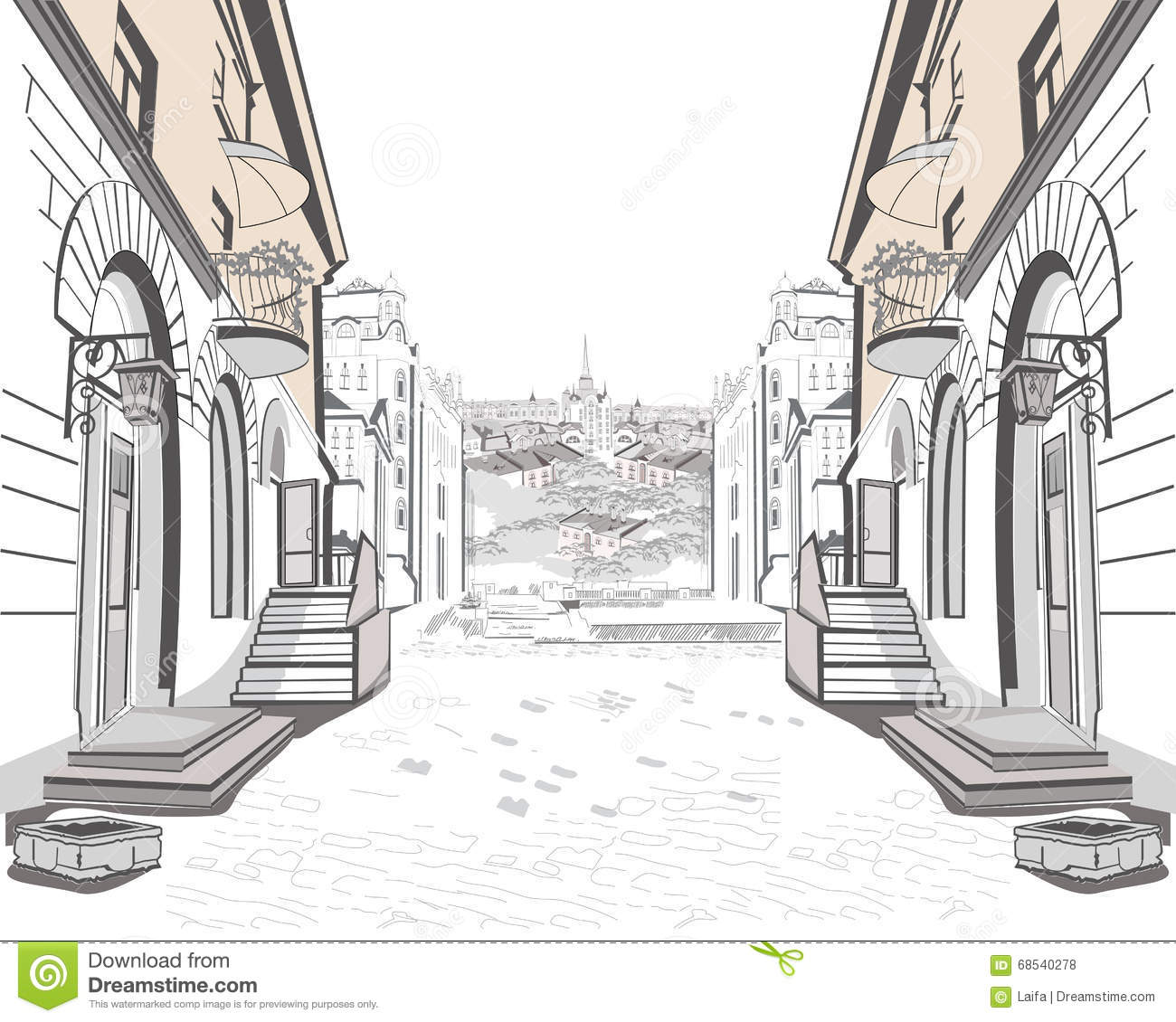 Series Of Street Views In The Old City Stock Vector