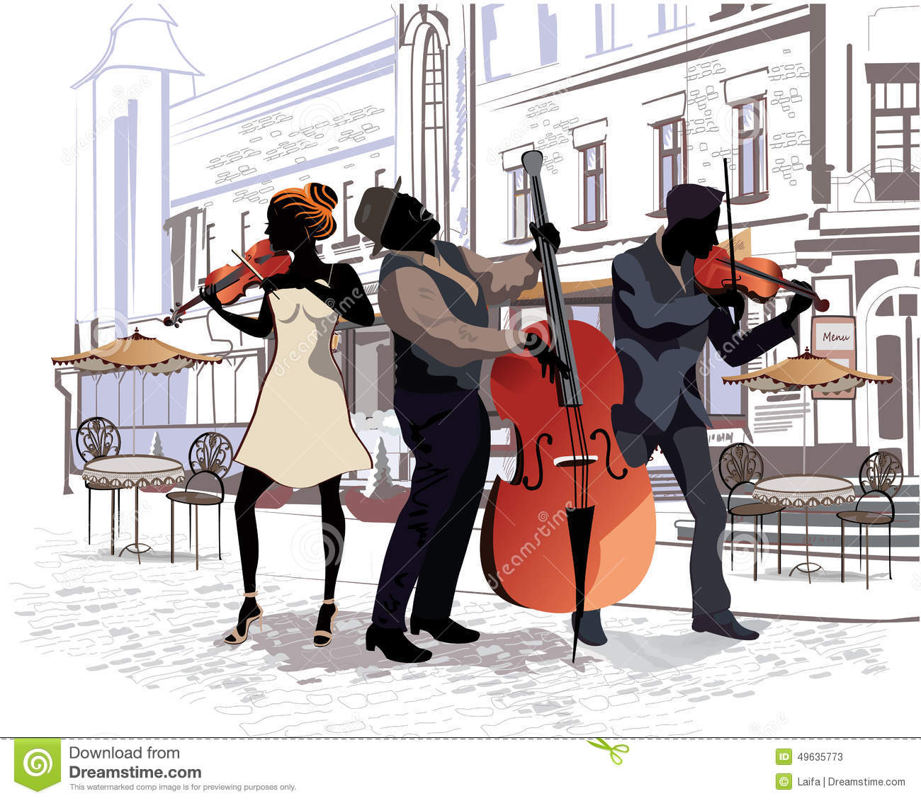 Series of the streets with people in the old city. Musicians