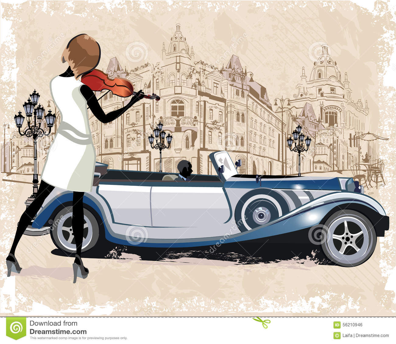 Series of vintage backgrounds decorated with retro cars, musicians, old town views and street cafes.