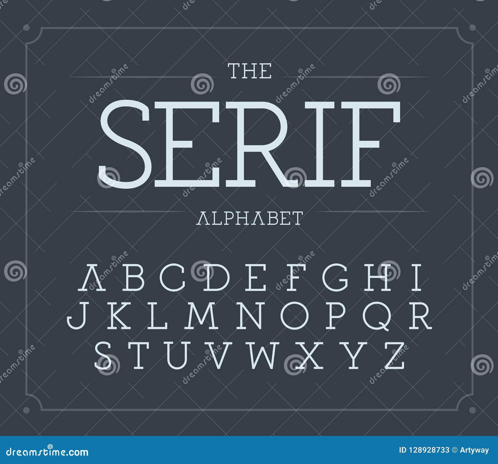 Serif geplaatste brieven Modern vector Latijns alfabet Dunne uitstekende doopvont Modieus elegant ABC-malplaatje Typografieontwer