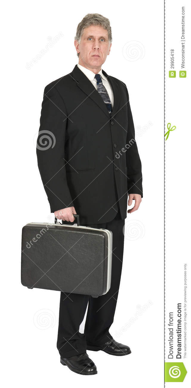 Serious Businessman with Briefcase, Isolated on White