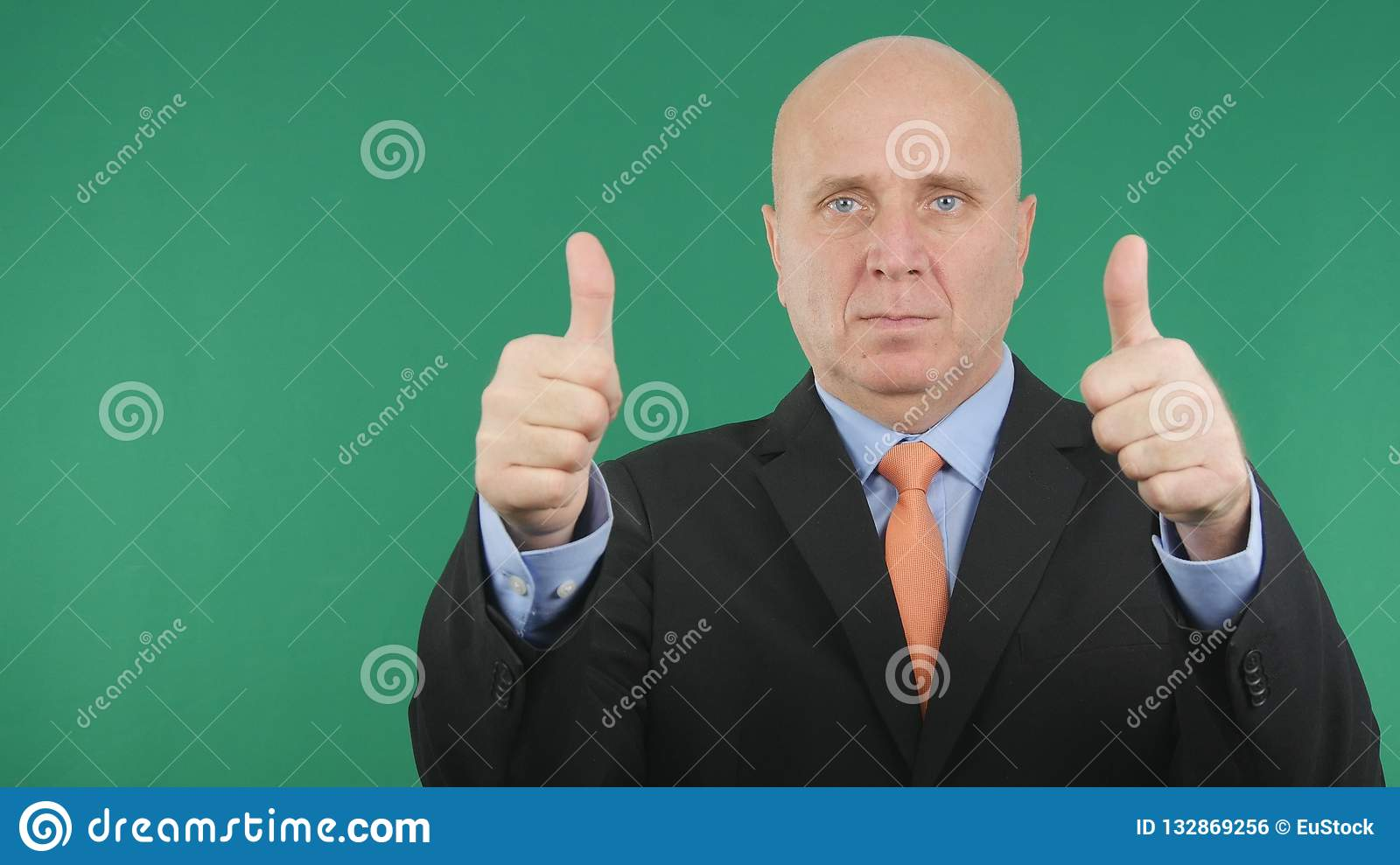 Serious Businessman Make Double Thumbs Up a Good Job Hand Gestures.