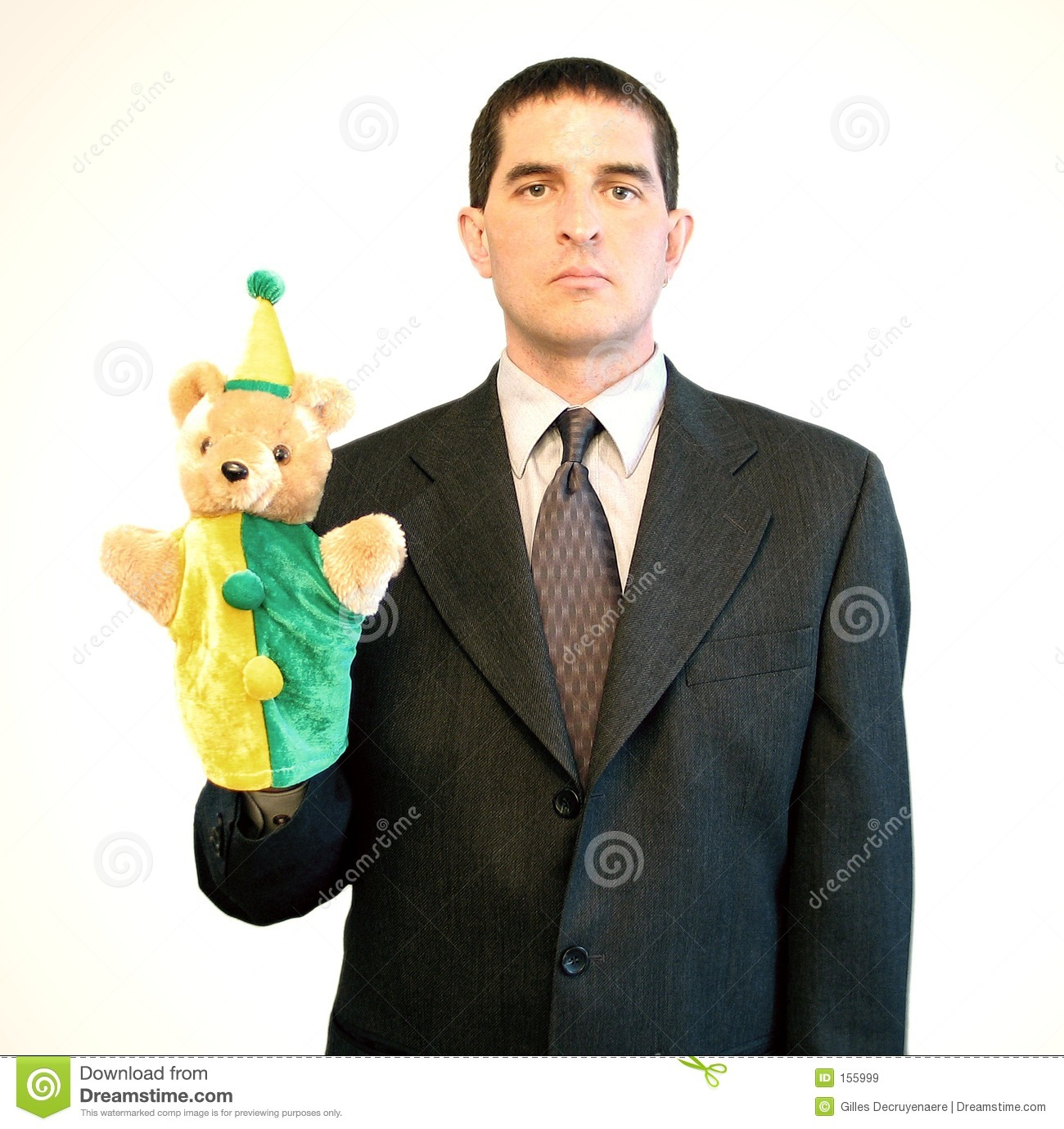 Serious Businessman with Puppet