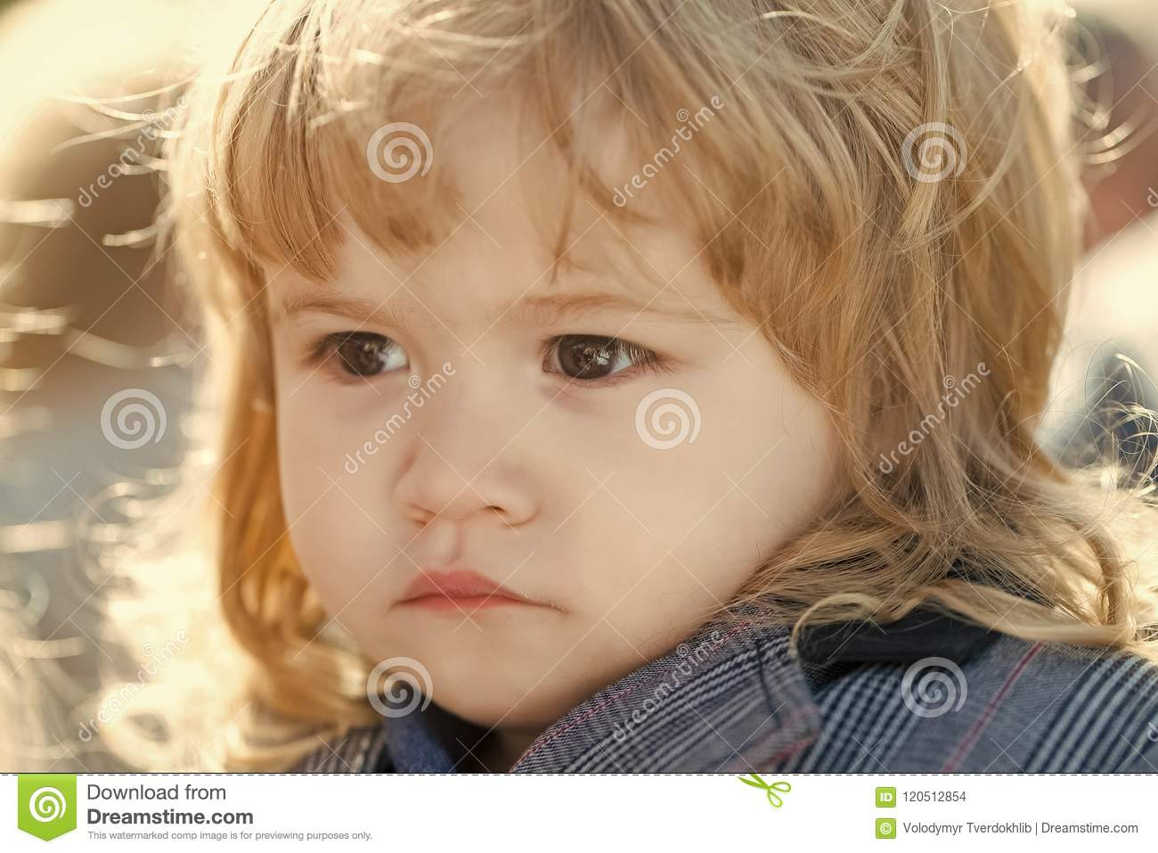 Serious Child Kid With Long Blond Hair Stock Photo Image Of Young