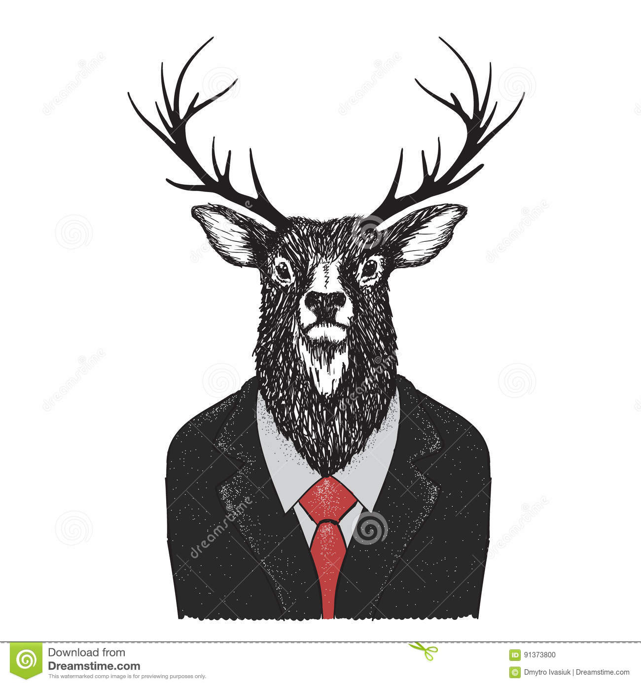 Landscaping Ties Red Deer : Serious deer dressed in jacket stock vector image