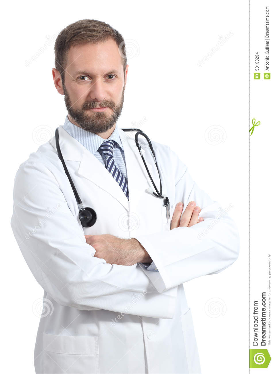 Serious doctor man posing with folded arms