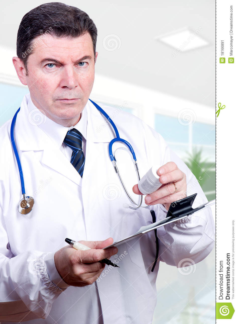 Serious Doctor With Pills Stock Image  Image Of Care