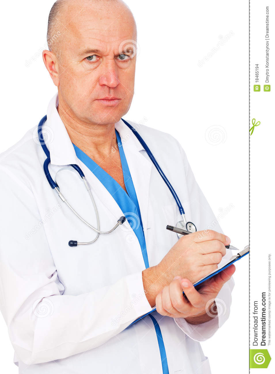 Serious Doctor Writing Report Stock Images Image 18465194