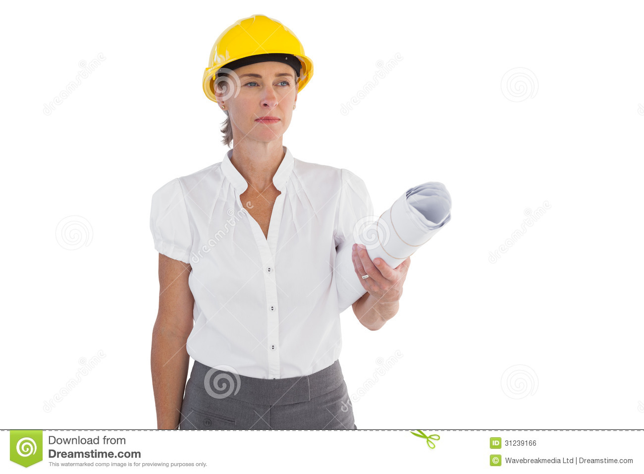 Serious Female Architect Holding Plans And Hard Hat