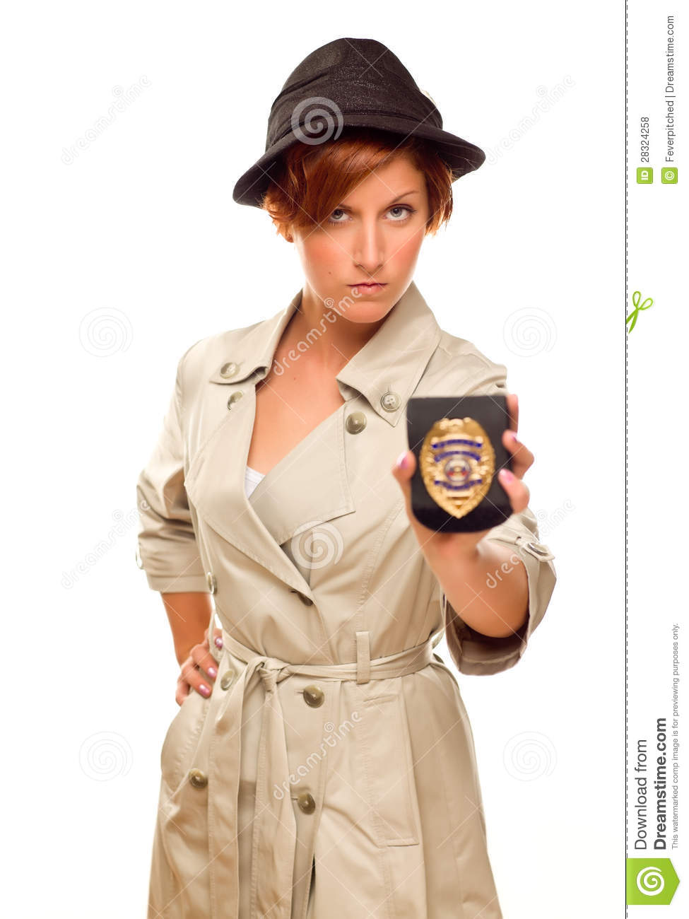 Serious Female Detective With Official Badge In Trench Coat on White  sc 1 st  Dreamstime.com & Serious Female Detective With Official Badge In Trench Coat On White ...