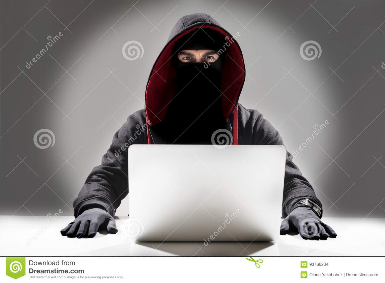 Serious hacker stealing information from laptop