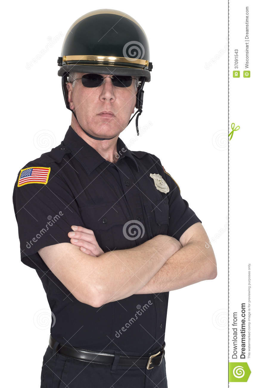 Serious motorcycle cop, police, policeman, or county sheriff. The man ...