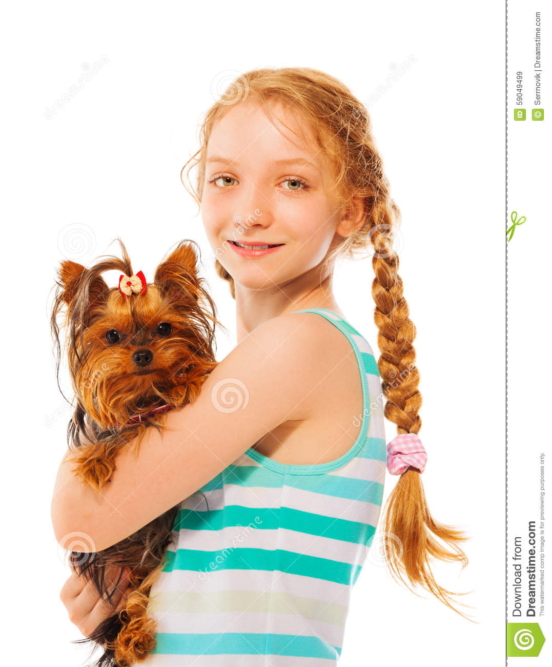 Serious smiling girl holding little cute dog