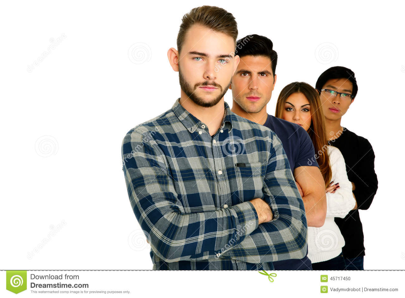 Serious students with arms folded