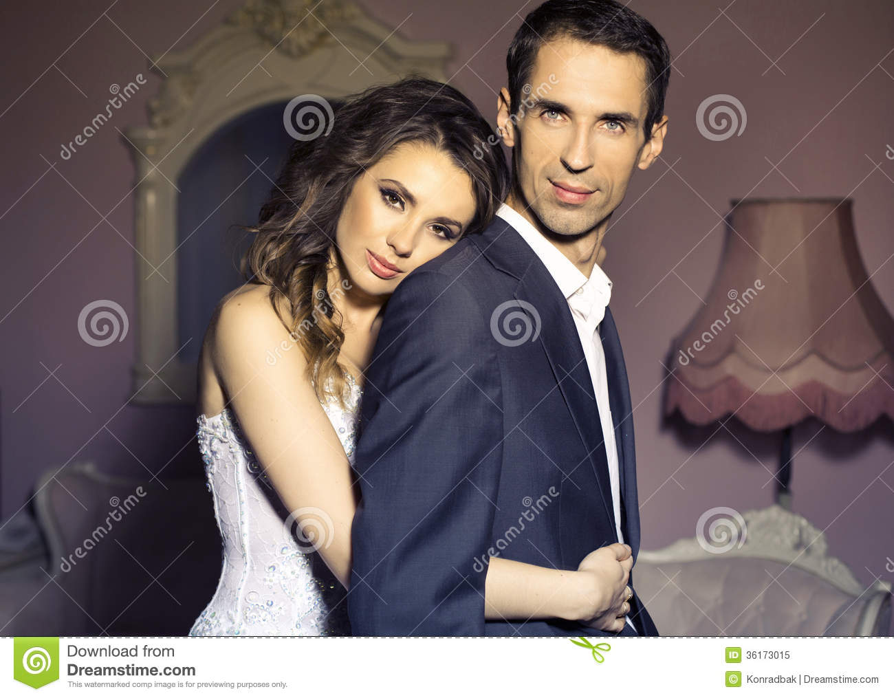 Serious Wedding Couple In Romantic Pose Stock Image Image Of