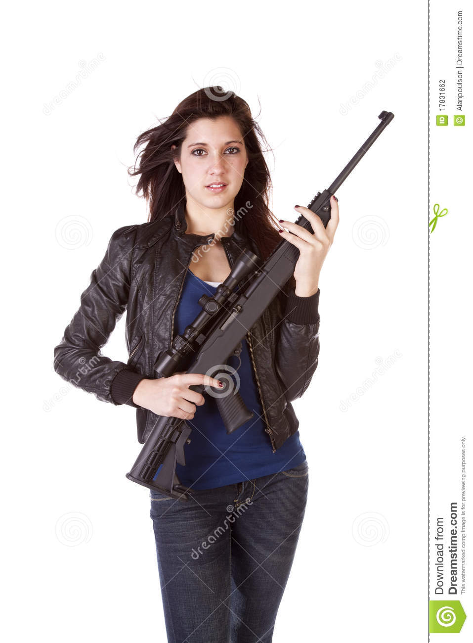 Serious Woman Holding Black Gun Stock Photography - Image ...
