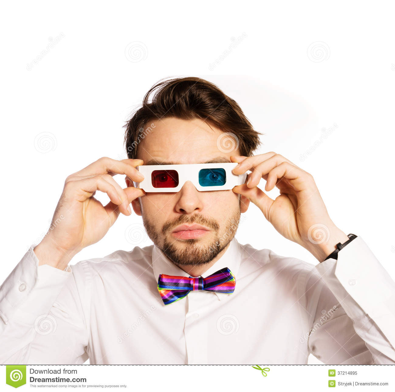 Serious Young Man Wearing 3d Glasses Royalty Free Stock ...