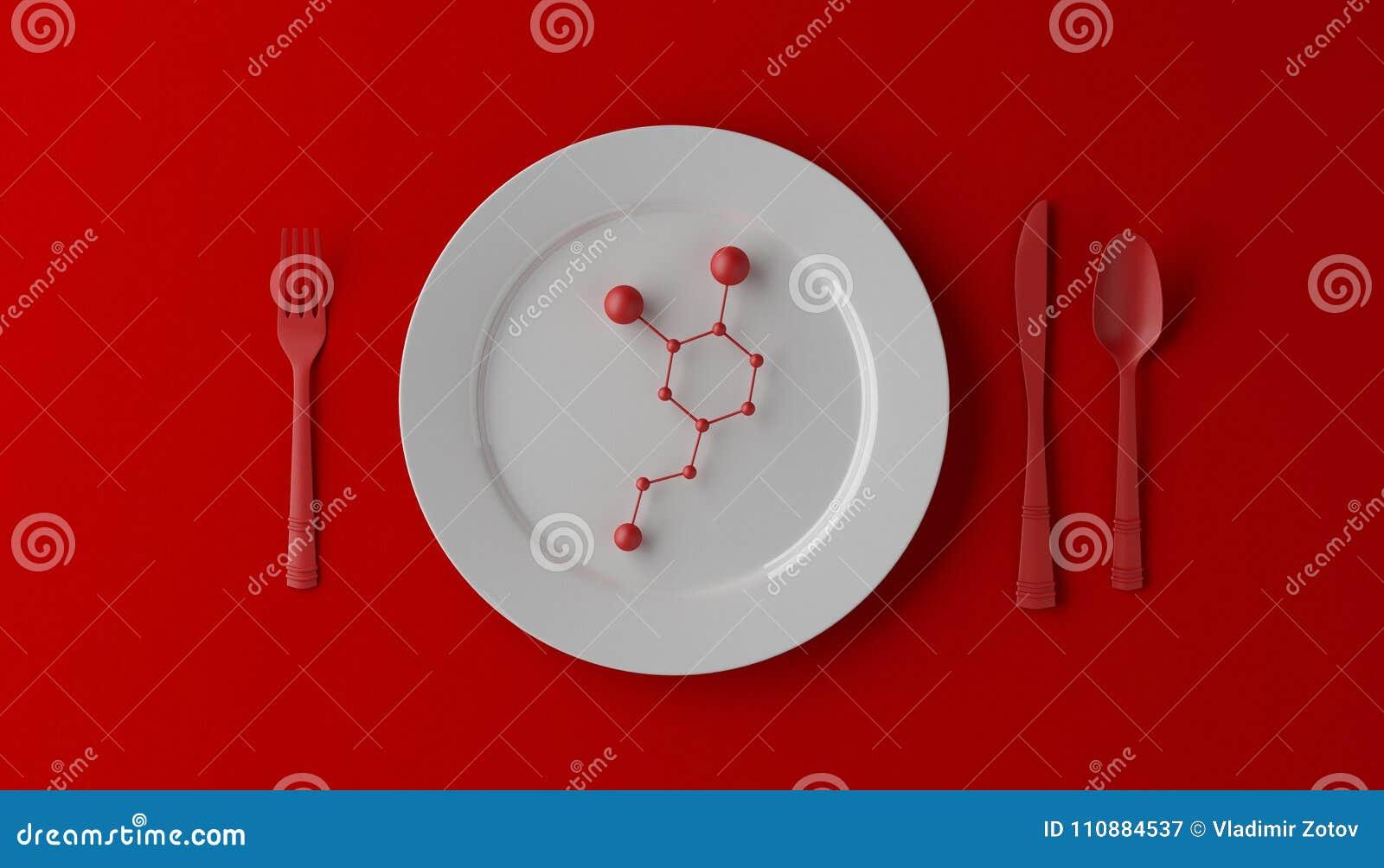 Serotonina sulla piastrina bianca con il cucchiaio, il coltello e la forchetta su fondo rosso illustrazione 3D
