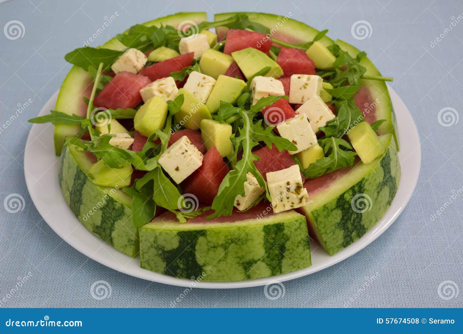 Serowy feta sałatki arbuz