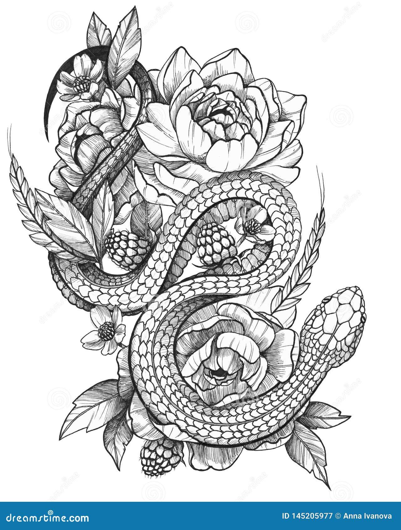 Serpent détaillé à l encre noire détaillé de tatouage en composition florale