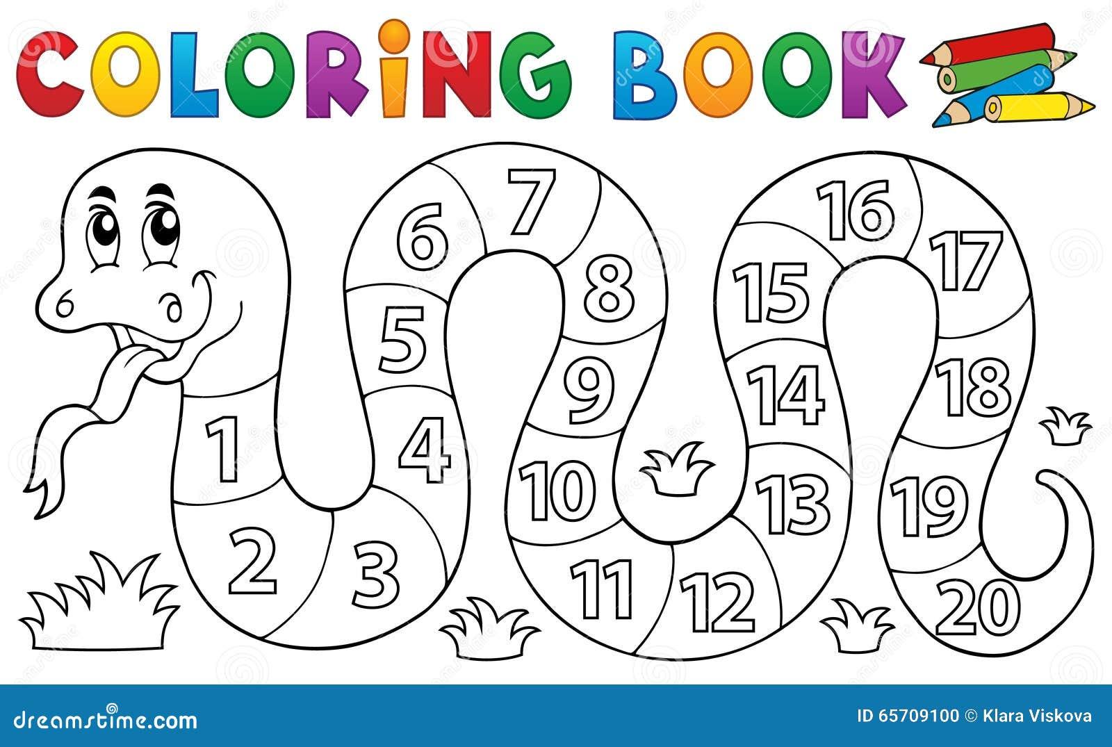 Serpent de livre de coloriage avec le thème de nombres