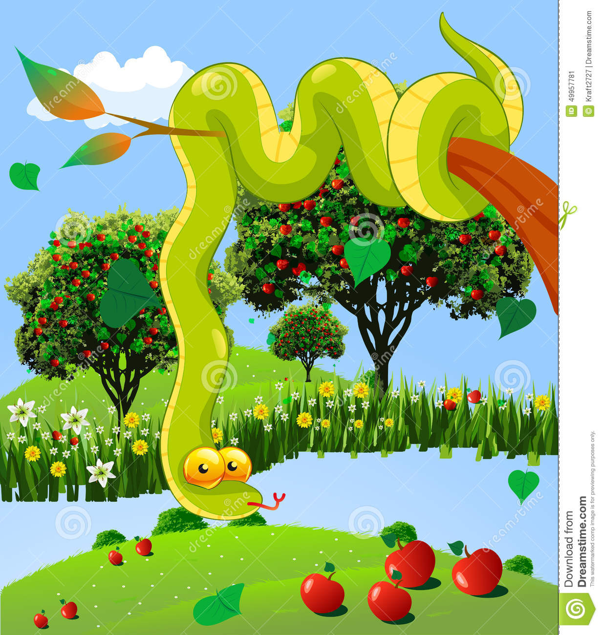 The Serpent In The Garden Of God Stock Vector Image