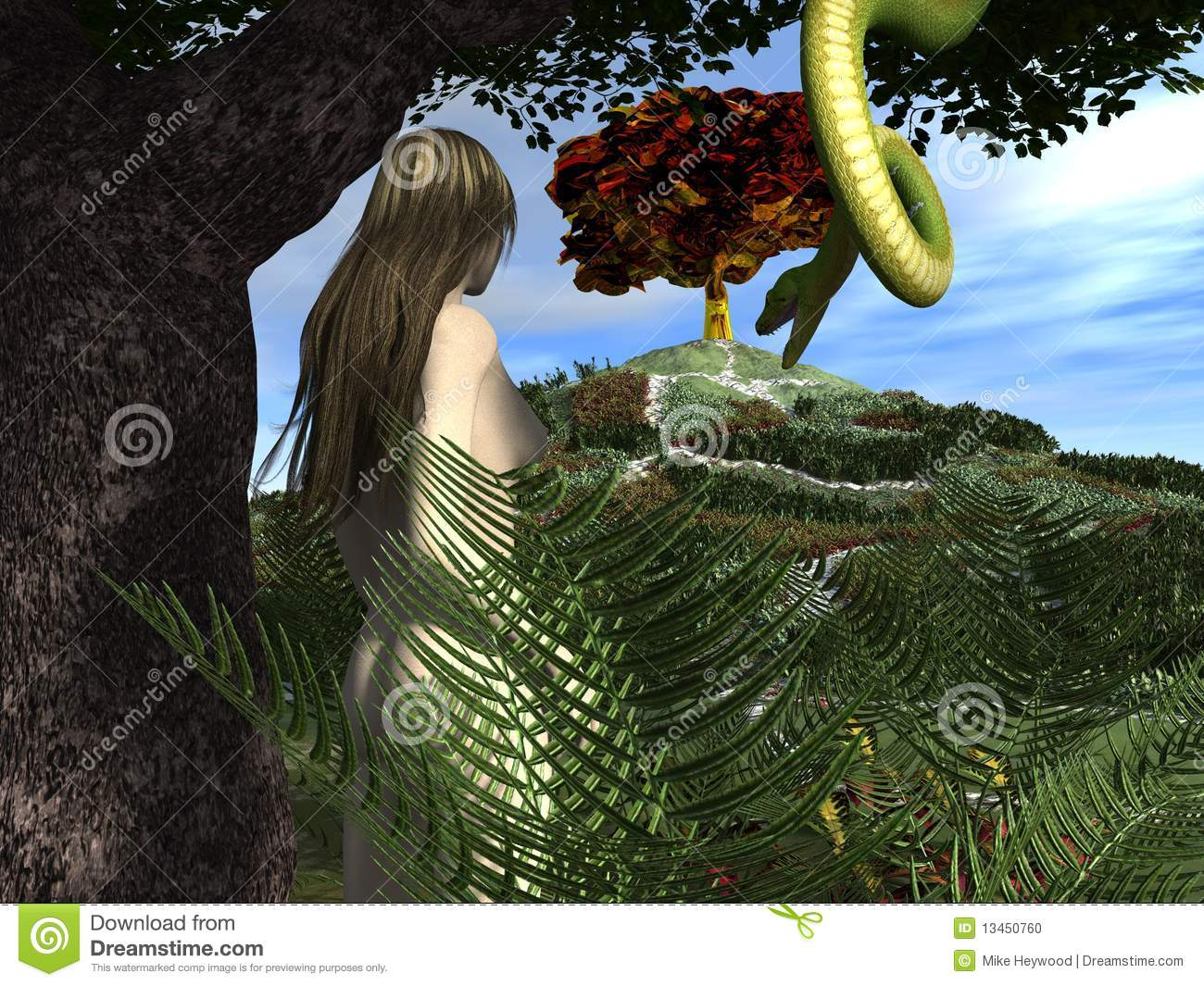 Serpent Tempts Eve In The Garden Of Eden Stock ...