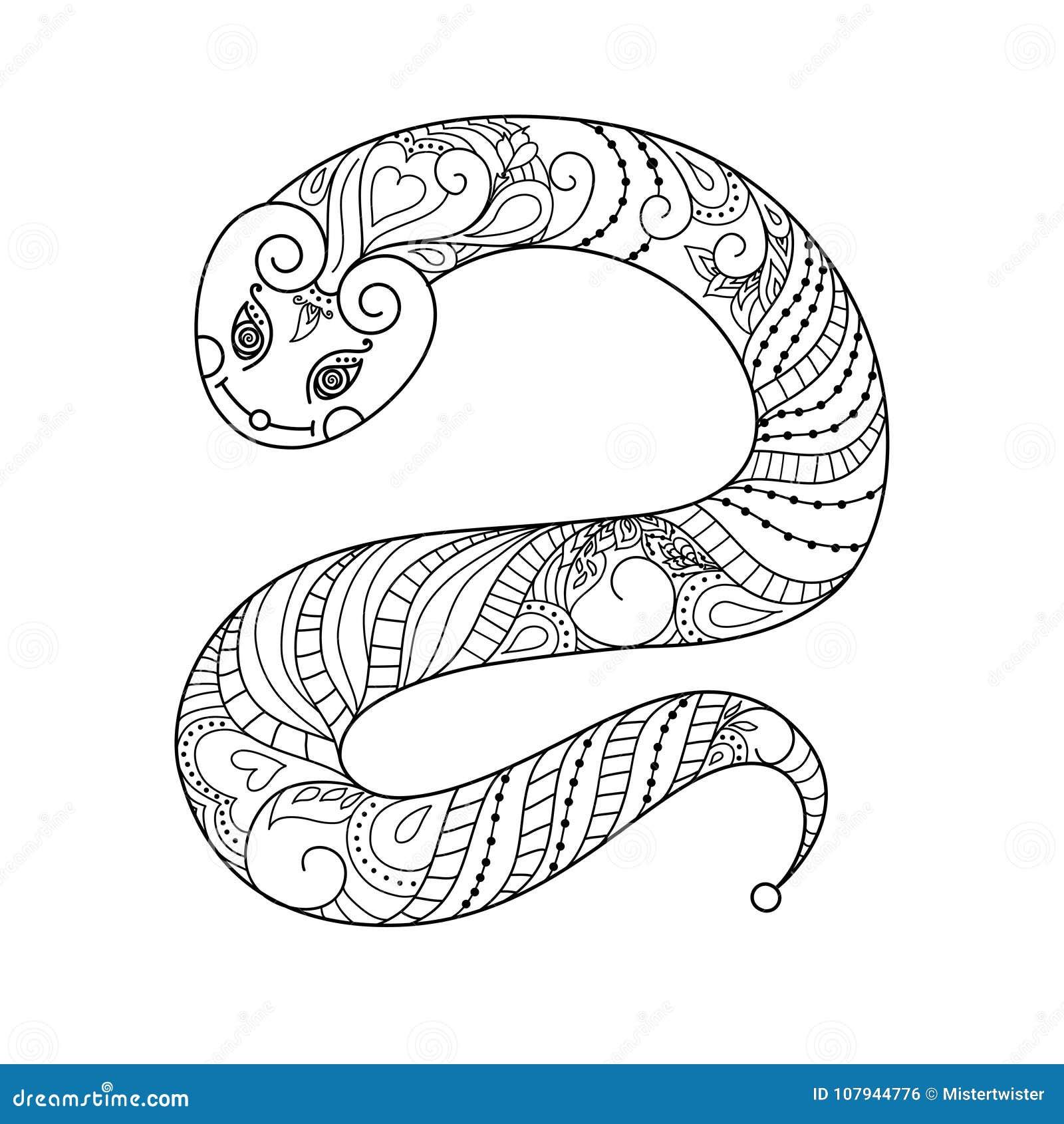 Serpente Illustrazione Di Vettore Doodle Libro Da Colorare In Bianco
