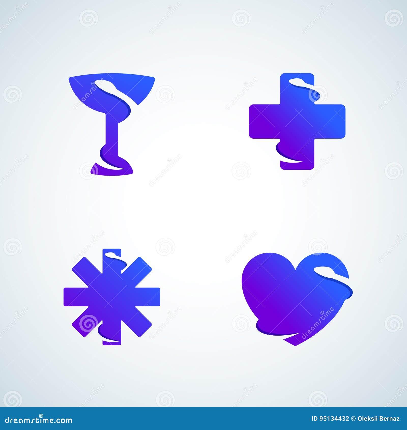 Serpente negativa do espaço dos símbolos da medicina Sinais, emblemas, ícones ou Logo Template Set abstrato do vetor Inclinação m